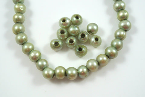 Freshwater Pearl Large Hole Green Baroque 6-7mm 10 Beads