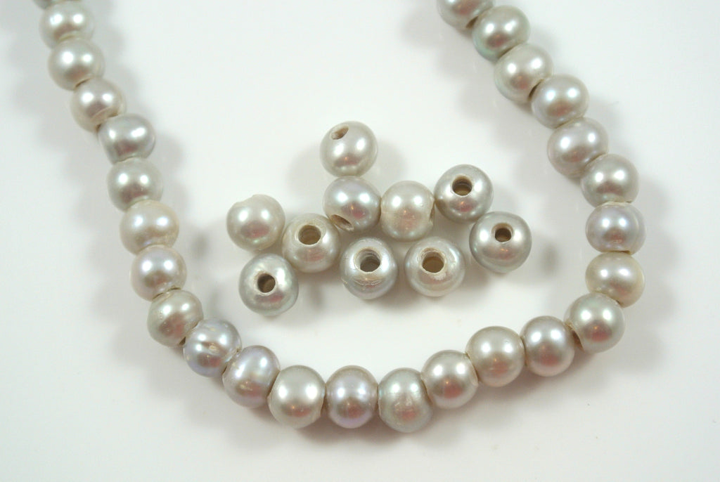Freshwater Pearl Large Hole Gray Baroque 6-7mm 10 Beads
