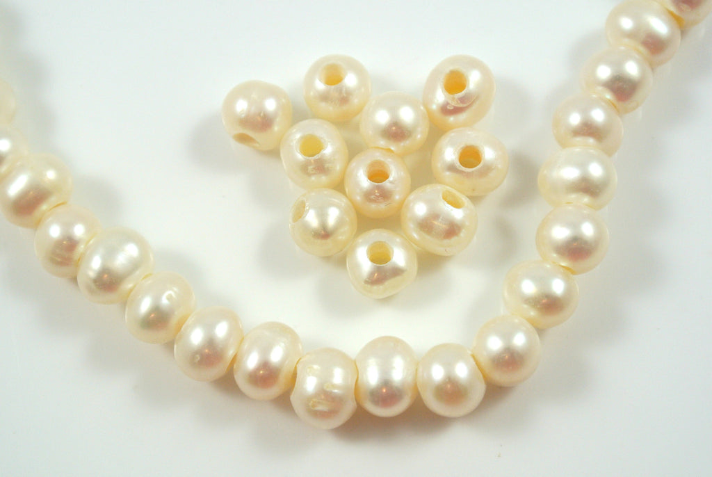 Freshwater Pearl Large Hole White Baroque 6-7mm 10 Beads