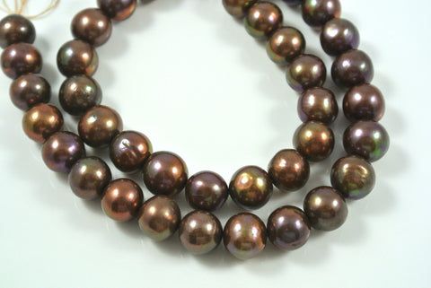 Freshwater Pearl Light Chocolate Iris 10mm 2 Beads