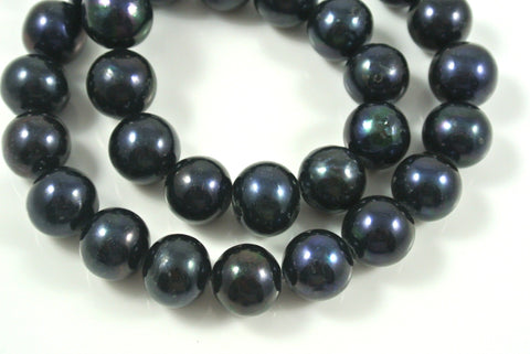 Freshwater Pearl Black Iris Potato 12mm 2 Beads