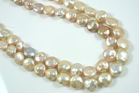 Freshwater Pearl Pink Champagne Coin 14mm 5 Beads