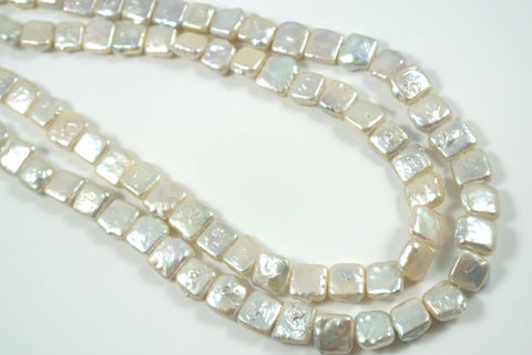 Freshwater Pearl White Square 10mm 5 Beads