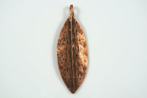 Pendant Leaf Antique Copper Electroplated 20x56mm 1 Piece