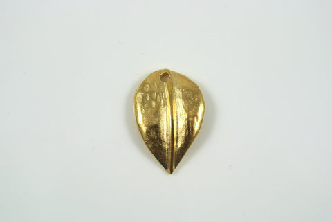 Drop Leaf Satin Gold Electroplated 14x21mm 1 Piece
