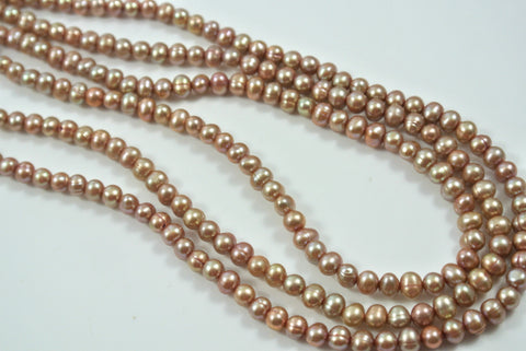 Freshwater Pearl Dark Champagne Pink Potato 4-4.5mm