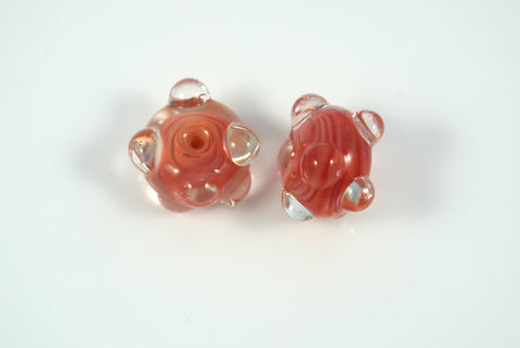 Whirled Peas Lampwork Beads Pair Coral Swirl Raised Dots 10x16mm