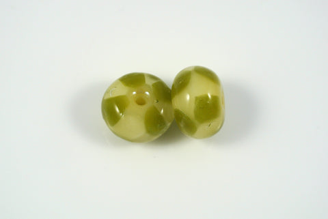Whirled Peas Lampwork Beads Pair Avocado Checkerboard 9x14mm
