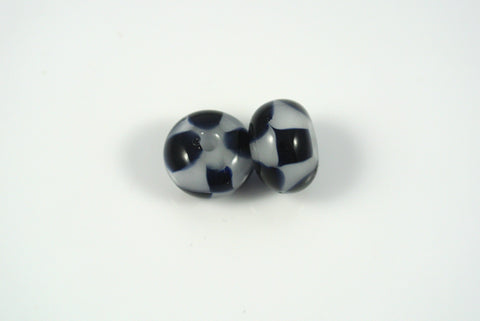 Whirled Peas Lampwork Beads Pair Black and White Checkerboard 8x12mm