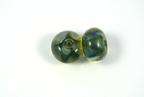 Whirled Peas Lampwork Beads Pair Shades Of Green Zig Zag 8x13mm