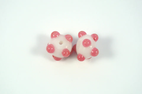 Whirled Peas Lampwork Beads Pair Pink Raised Dots White Base 8x12mm