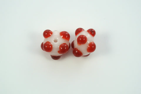Whirled Peas Lampwork Beads Pair Red Raised Dots White Base 10x14mm
