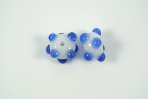 Whirled Peas Lampwork Beads Pair Blue Raised Dots White Base 9x12mm