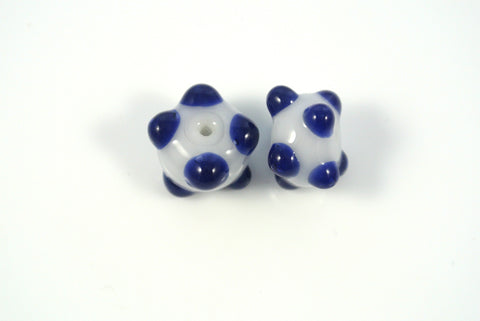 Whirled Peas Lampwork Beads Pair Cobalt Blue Raised Dots White Base 10x14mm