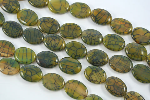 Fire Crackle Agate Olive Flat Oval 18x25mm