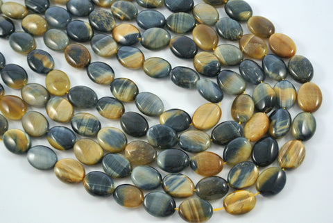 Honey Blue Tiger Eye Oval 12x16mm
