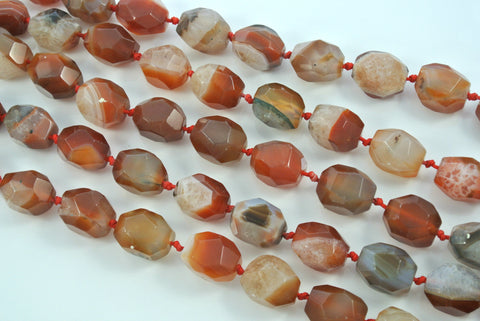 Carnelian Faceted Free Form Nugget 15x20mm