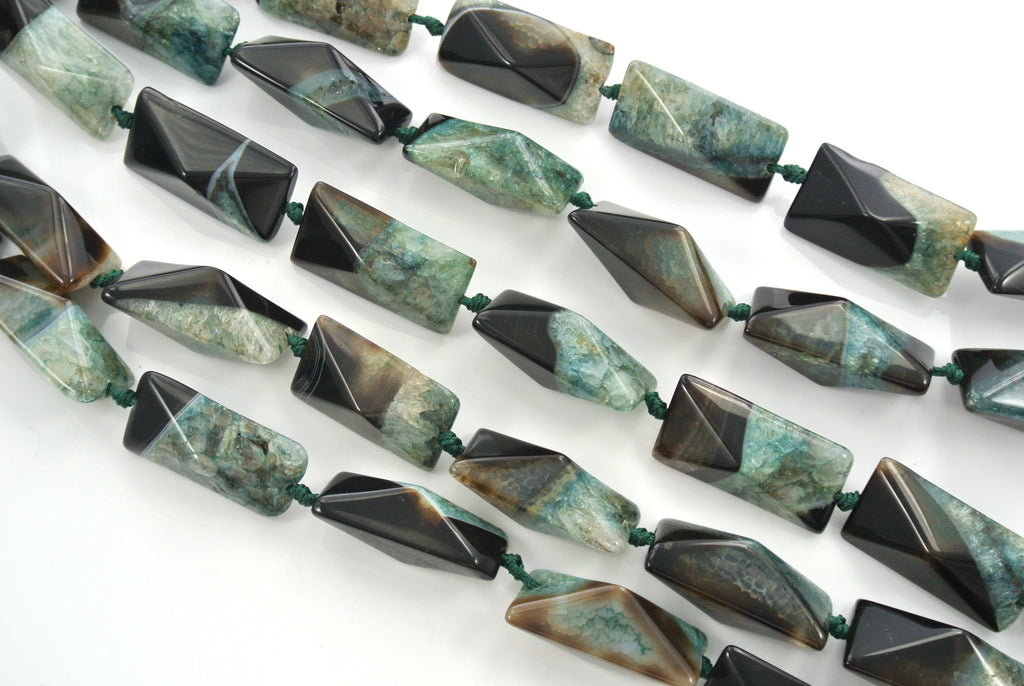 Agate Green Black Faceted Cuboid Rectangle 20x40mm