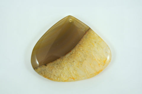 Agate Yellow Teardrop Pendant 55x47mm