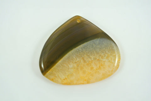 Agate Yellow Teardrop Pendant 52x44mm