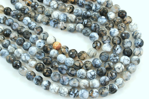 Fire Crackle Agate Black White Faceted Round 10mm