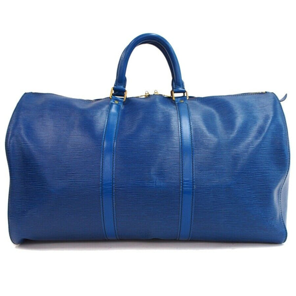 Louis Vuitton Keepall 50 M42965 Blue Epi Leather Boston Travel Bag 11341