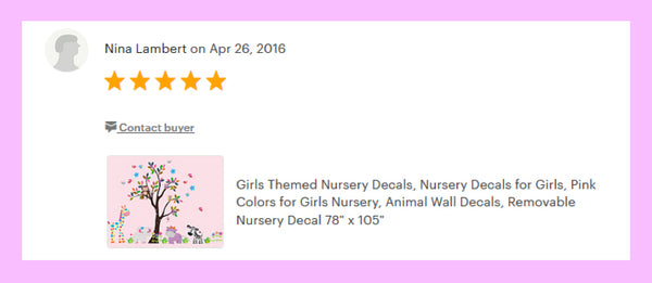 Pink Animal Baby Girls Room Decals