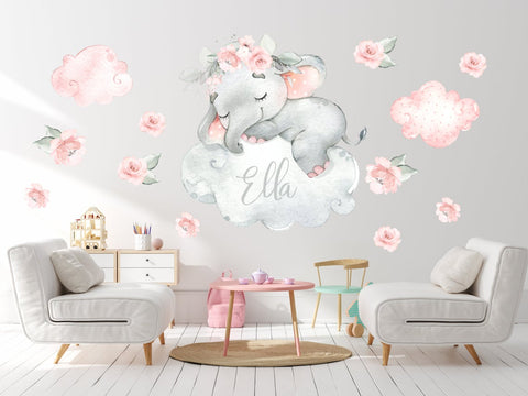 Watercolor Nursery Elephant Decal - Nursery Decals Wall Decor - Baby Room Decor Watercolor Elephant Wall Decal Sleeping Elephant Decal