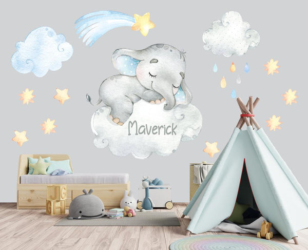 Elephant Nursery Wall Decal - Elephant Wall Sticker - Wall Decor - Baby Room Decor - Watercolor Elephant Wall Decal - Sleeping Elephant Decal