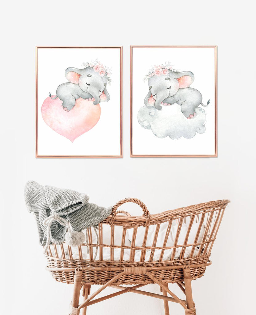 cute elephant wall print nursery