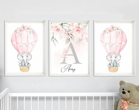 Nursery Hot Air Balloon Wall Art -  Nursery Wall Decor - Elephant Nursery Room