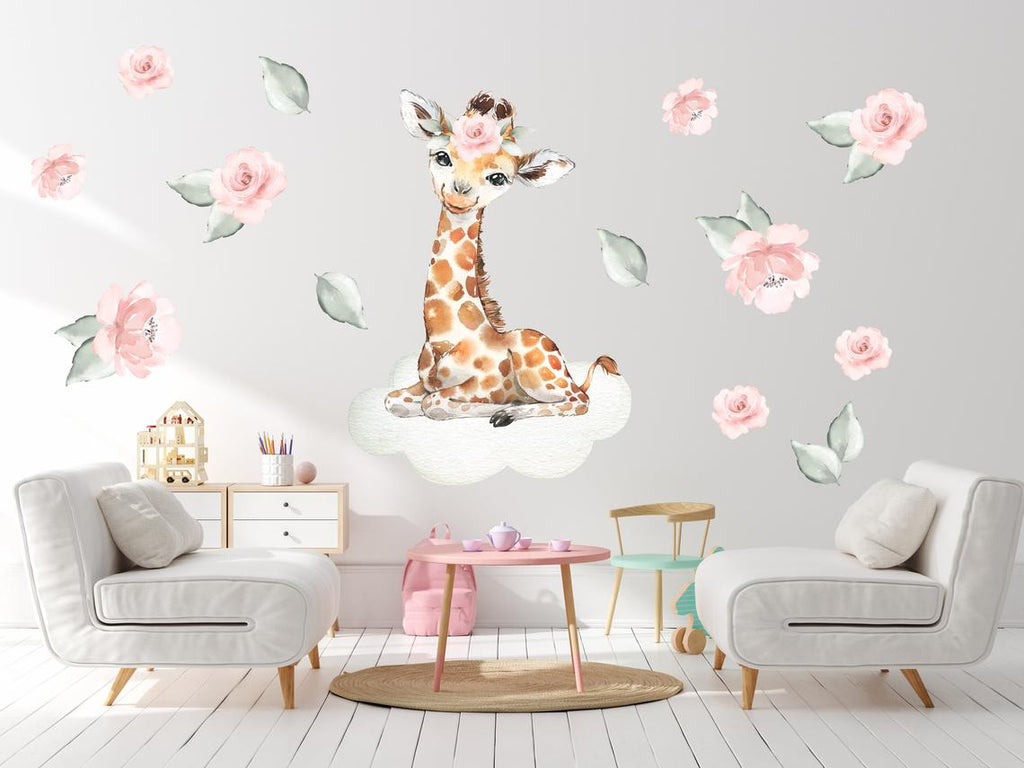 Large Giraffe Decal - Baby Girl's Room Nursery Decor - Clouds and Flowers - Pink & Green Colors - Safari Animal Design