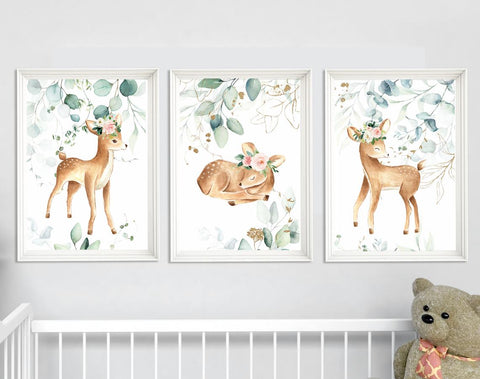 Nursery Wall Art Girl - Floral Girl Nursery Decor - Forest and Woodland Theme