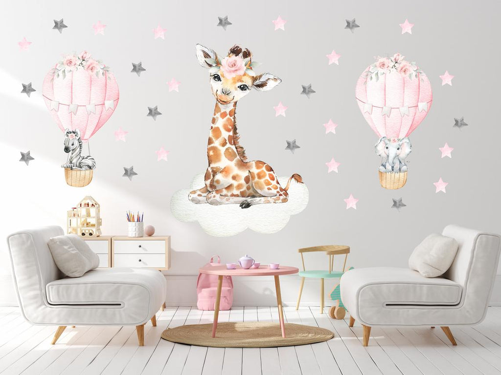 Baby Giraffe Nursery Decals - Hot Air Balloons - Cute Elephant and Zebra - Pink Colors - Baby Girl's Nursery Room Decorations