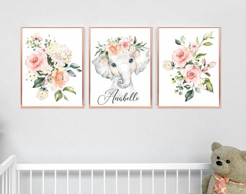 Elephant Girl Nursery Decor - Girl Floral Room Decor - Elephant Print - Baby Room