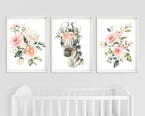Nursery Girl Decor - Nursery Zebra Wall Art - Zebra and Floral Design - Cute Prints
