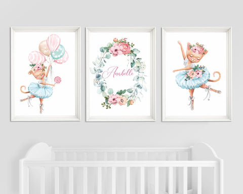 Nursery Decor Ballerina - Nursery Wall Art Cat Ballerina - Girl Nursery Print