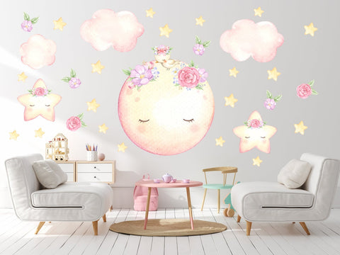 Nursery Moon and Stars Decal with Flowers - Nursery Moon Wall Decor - Girl Nursery Fabric Wall Decal - Moon Decal - Baby Room Decor