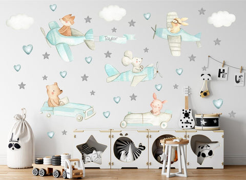Airplane Nursery Decals - Animals Flying Planes - Cute Animals in Planes Stickers - Watercolor Theme - Aviation Nursery Decal - Cars Mobile