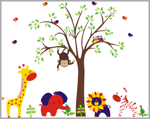 "Abstract Nursery Decals - Animal Wall Art - Wall Decals for Kids - Baby Boy Decals - Animal Decals - Baby Wall Decals - Baby Room Decals - Nursery Decals - 84"" x 132"""