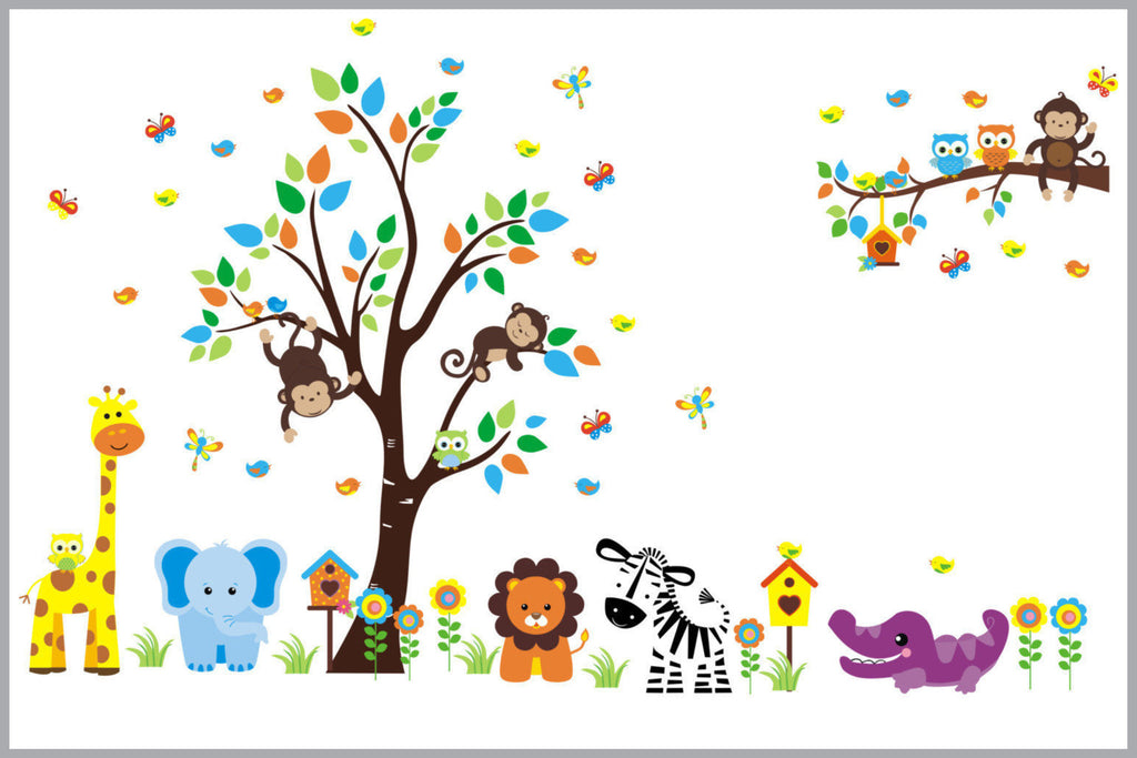 Jungle Animal Wall Decals Nursery Baby Room Reusable
