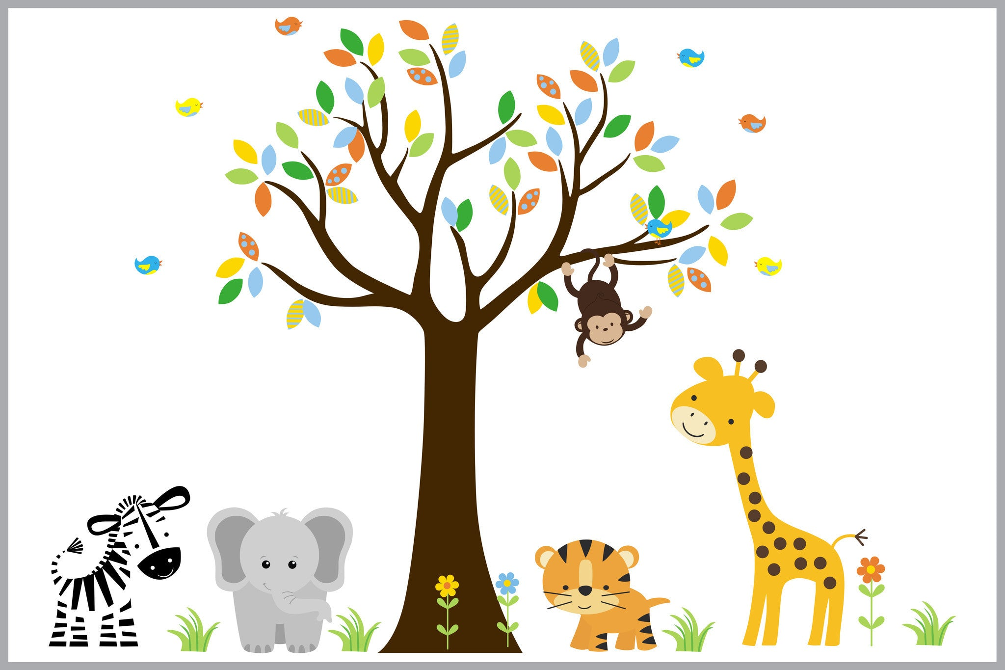 Jungle Animal Stickers Baby Room Decals Nursery Print Part 85