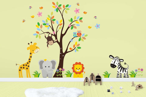 "Baby Fashion - Safari Wall Decals - Jungle Wall Decals - Animal Wall Decals - Tree Wall Decal - Large Animal Decals - Reusable Animal Stickers - 83"" x 97"""