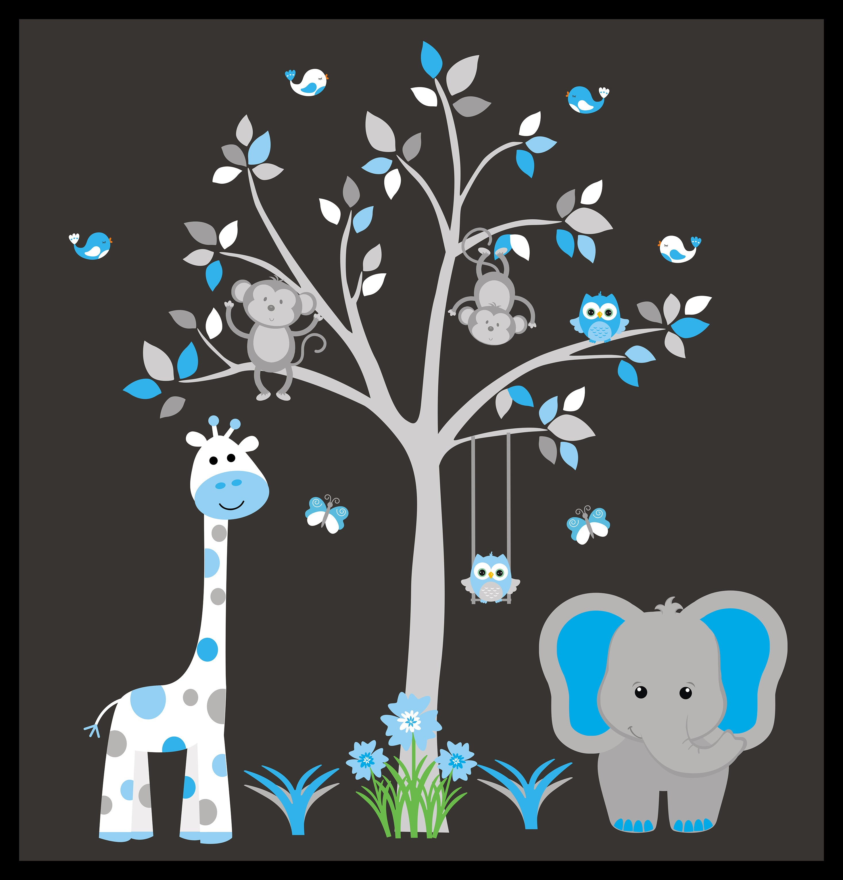 Nursery Wall Decals   Safari Animal Wall Decals   Nature Wall Decals   Blue  Animal Decals