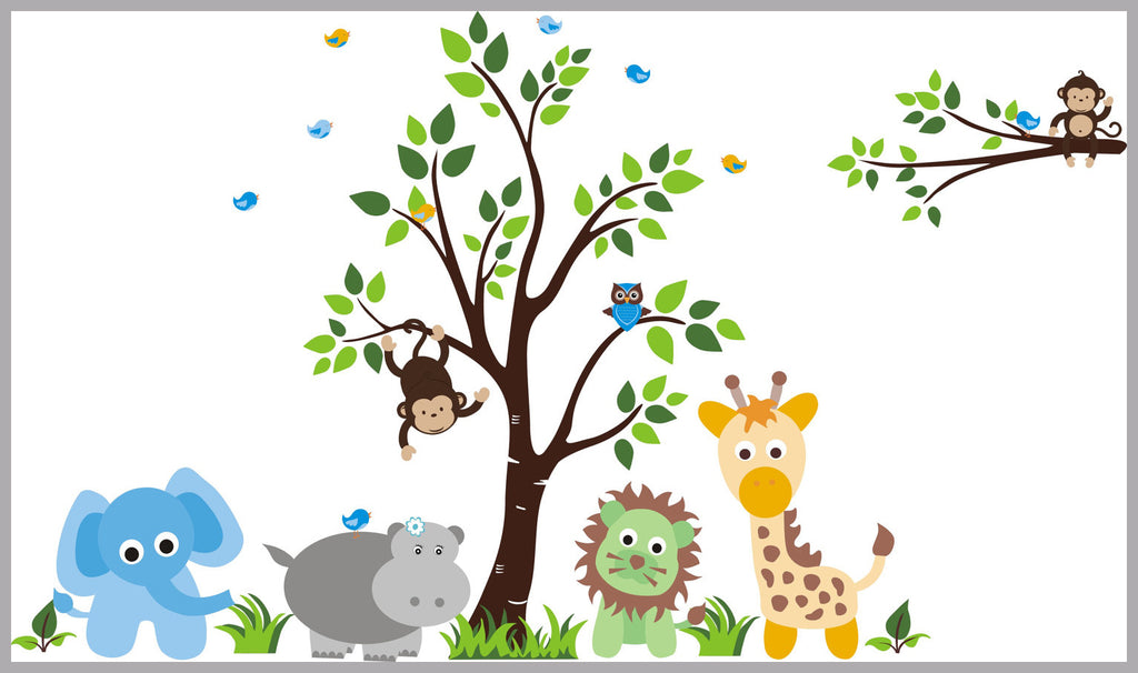"Baby Bump - Nursery Wall Decals - Safari Animal Decals - Jungle Wall Stickers - Baby Room Decals - Kids Room Stickers - Baby Room Decor - 83"" x 138"""