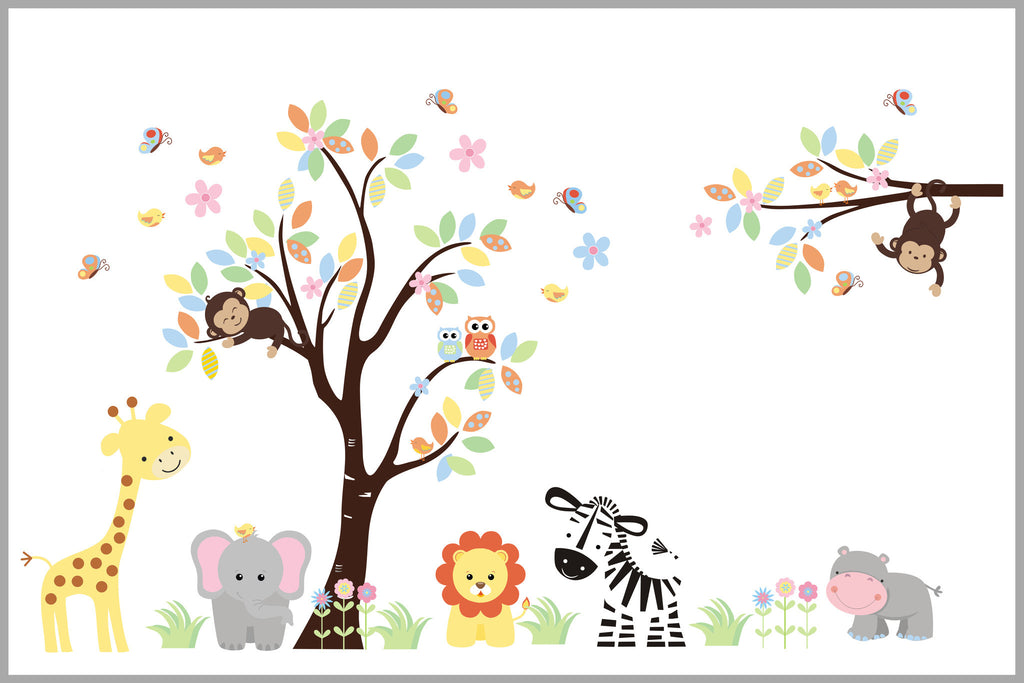 Pastel Girl's Themed Nursery Decals Safari Animals