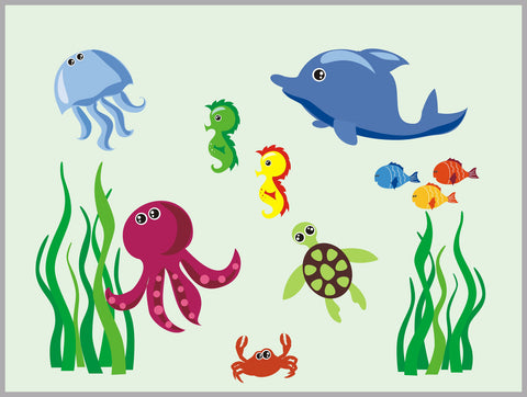 "Aquatic Nursery Wall Decal - Sea Ocean Wall Decal - Oceanic Wall Decal - Jellyfish Decal - Crab Decal - SeaWeed Decal- Removable - 62"" x 83"""
