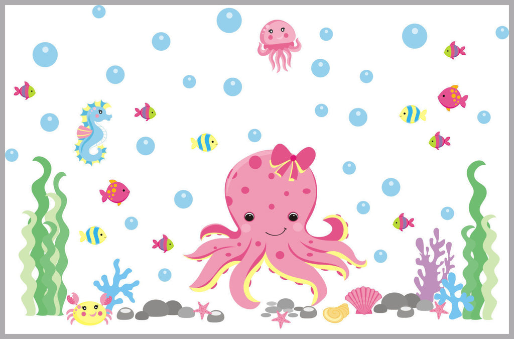 Pink Octopus Girls Decal