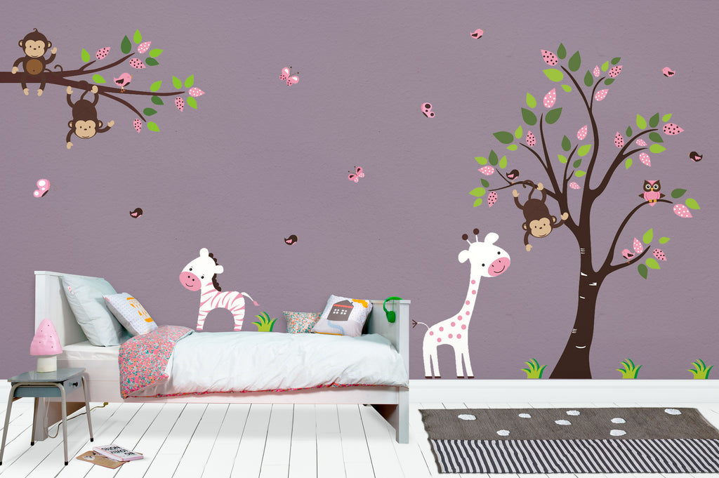 Pink and White Nursery Animal Decals