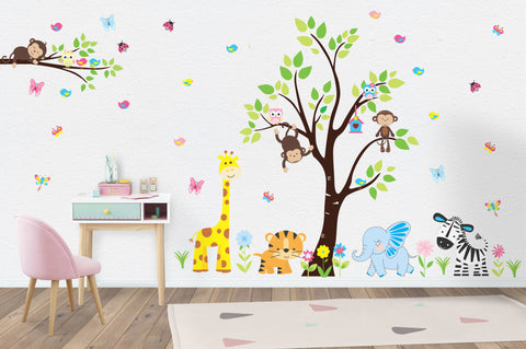 "Wall Decals Nursery - Safari Animal Stickers - Jungle Animal Decals - Baby Room Decorations - Large Animal Decals - Kids Room - 85"" x 145"""